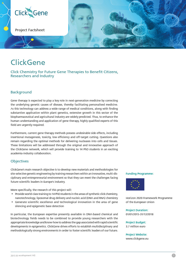 ClickGene - Click Chemistry for Future Gene Therapies to Benefit Citizens, Researchers and Industry